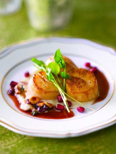 Seared Sea Scallop with Toasted Hazelnut Pomegranate Brown Butter Sauce
